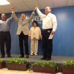 Javier Gándara Magaña (centro) al momento de ser declarado como candidato del PAN a la gubernatura de Sonora.