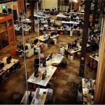 Interior de una parte de las nuevas oficinas de Facebook.