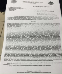 Parte policiaca de la detención de Damián Zepeda.